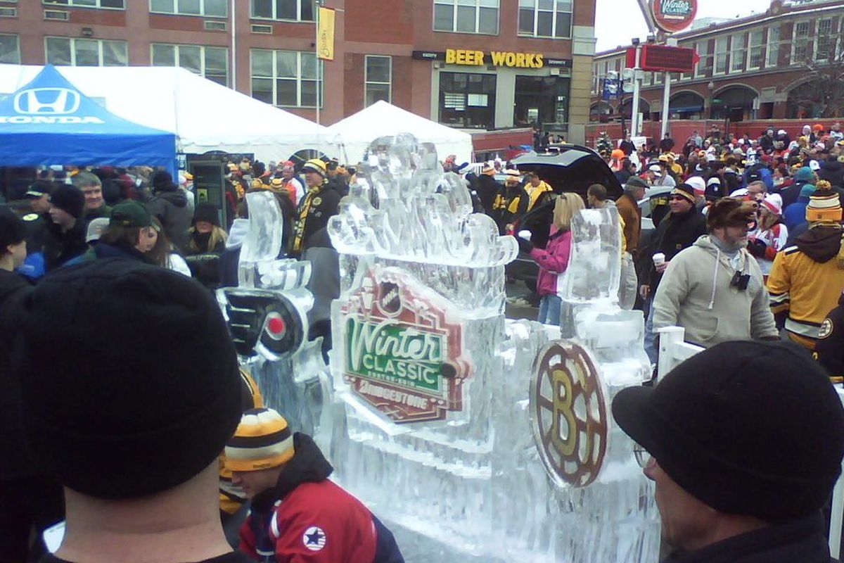 The first of many ice sculptures for the day, but probably the best and coolest of them all.