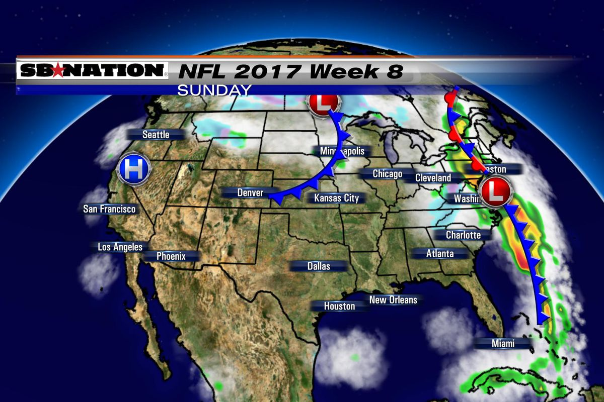 NFL weather forecast 2017, Week 8: Some wet windy weather