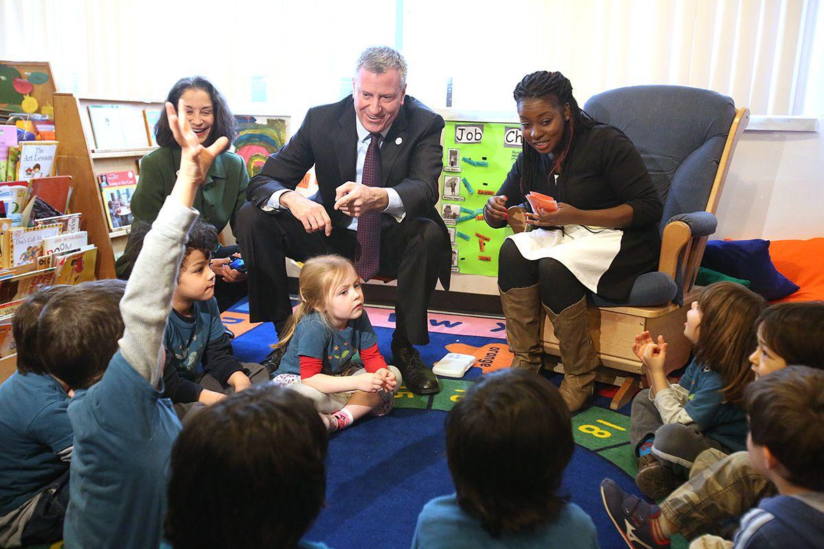 Mayor Bill de Blasio visits Sunnyside Community Services Pre-K in Queens on March 14, 2014.