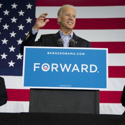 Vice President Joe Biden speaks at a campaign event at Zane Grey Elementary School, Saturday, Sept. 8, 2012, in Zanesville, Ohio. Seated left is former Ohio Gov. Ted Strickland, and right is teacher Autumn Collins-Widen.