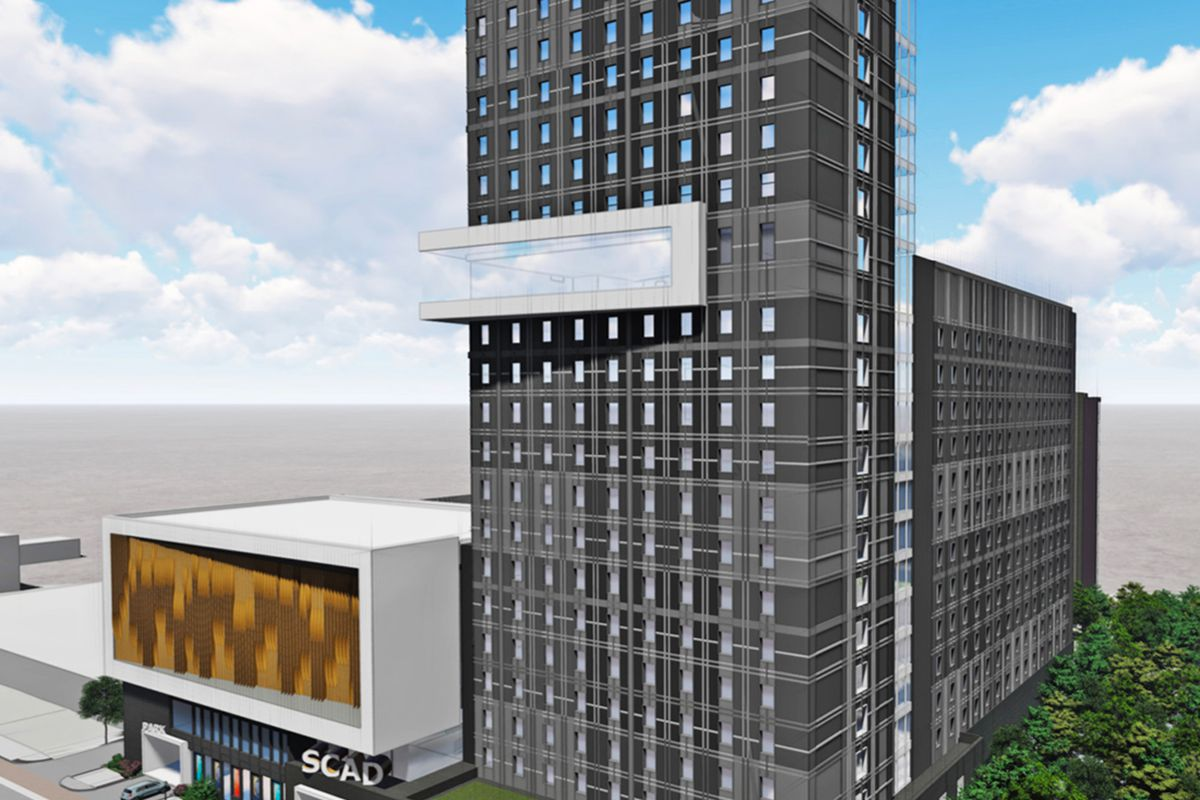 A rendering of the proposed project shows the 20-story residential component towering over other facets of the mixed-use space.