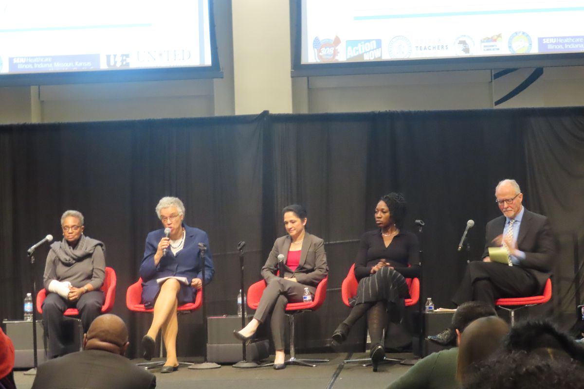 Five mayoral candidates invited to a labor forum on Nov. 19, 2018, discussed the exodus of black families from Chicago.