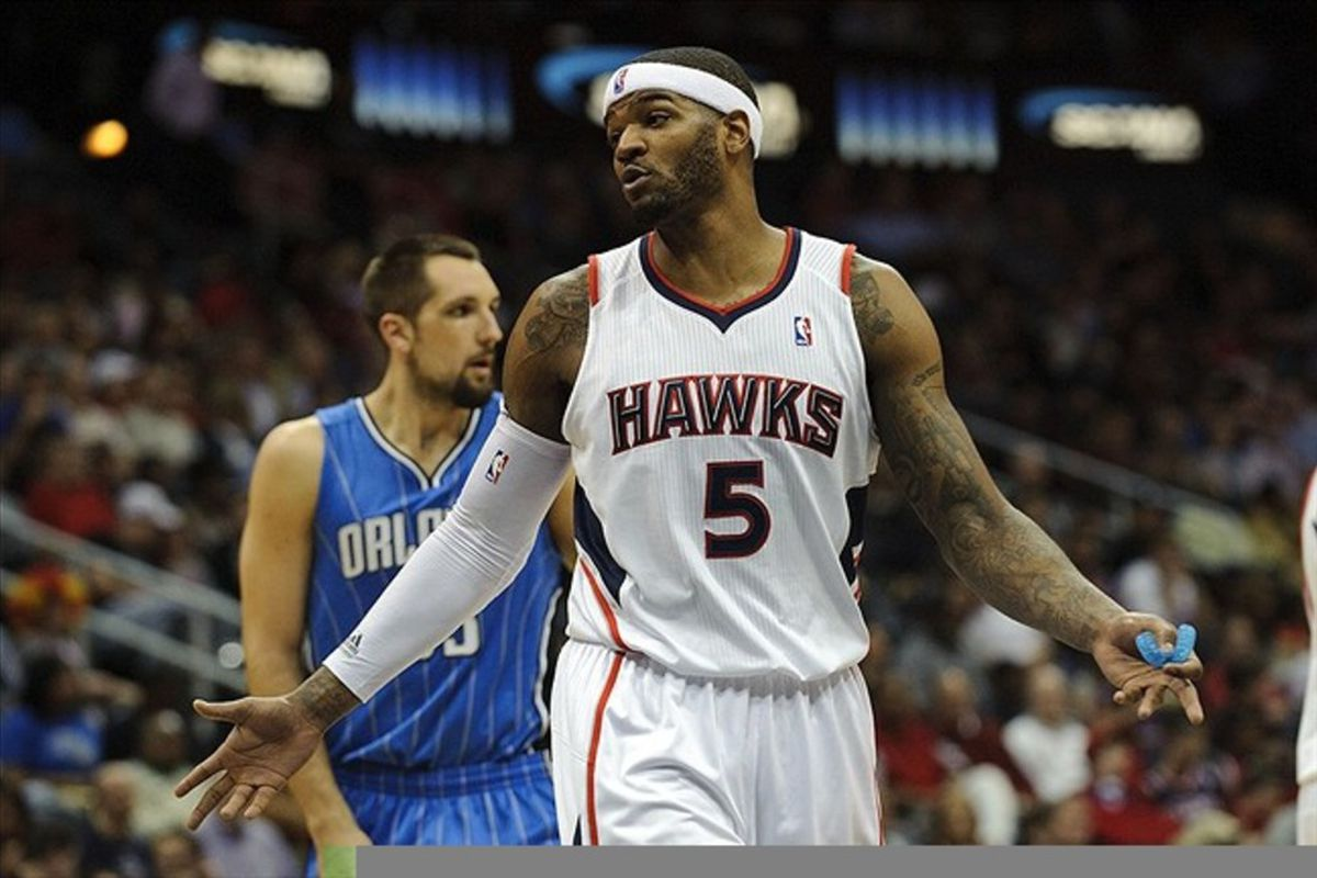 Feb 23, 2012; Atlanta, GA, USA; Atlanta Hawks power forward Josh Smith (5) reacts to a call against the Orlando Magic at Phillips Arena. Mandatory Credit: Paul Abell-US PRESSWIRE
