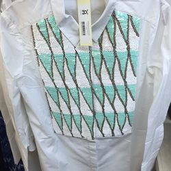 Figue white tux shirt, $65 (was $795)