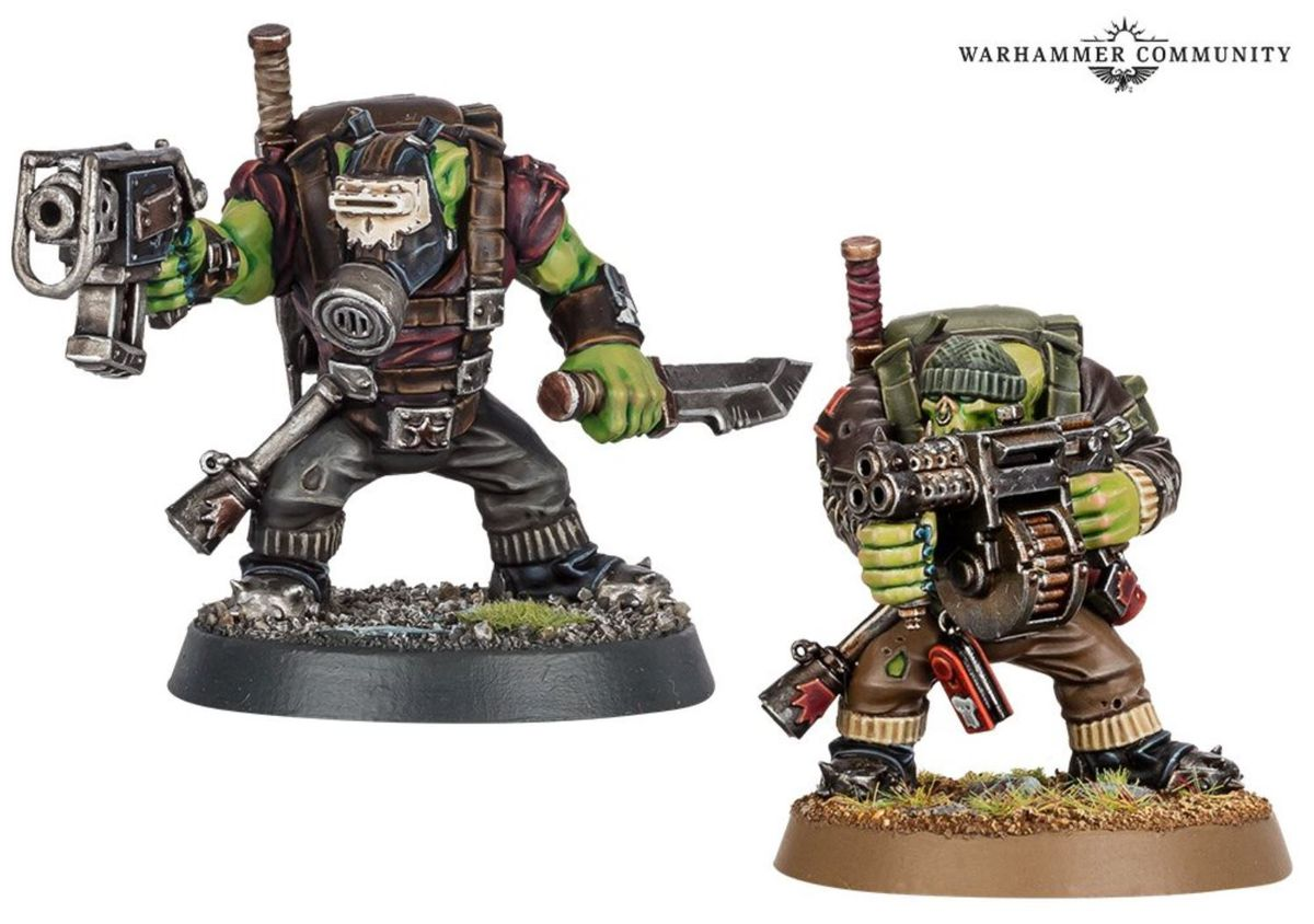 Two different options for the same Ork torso, one with a multi-barreled bolter and the other with a single stub pistol.