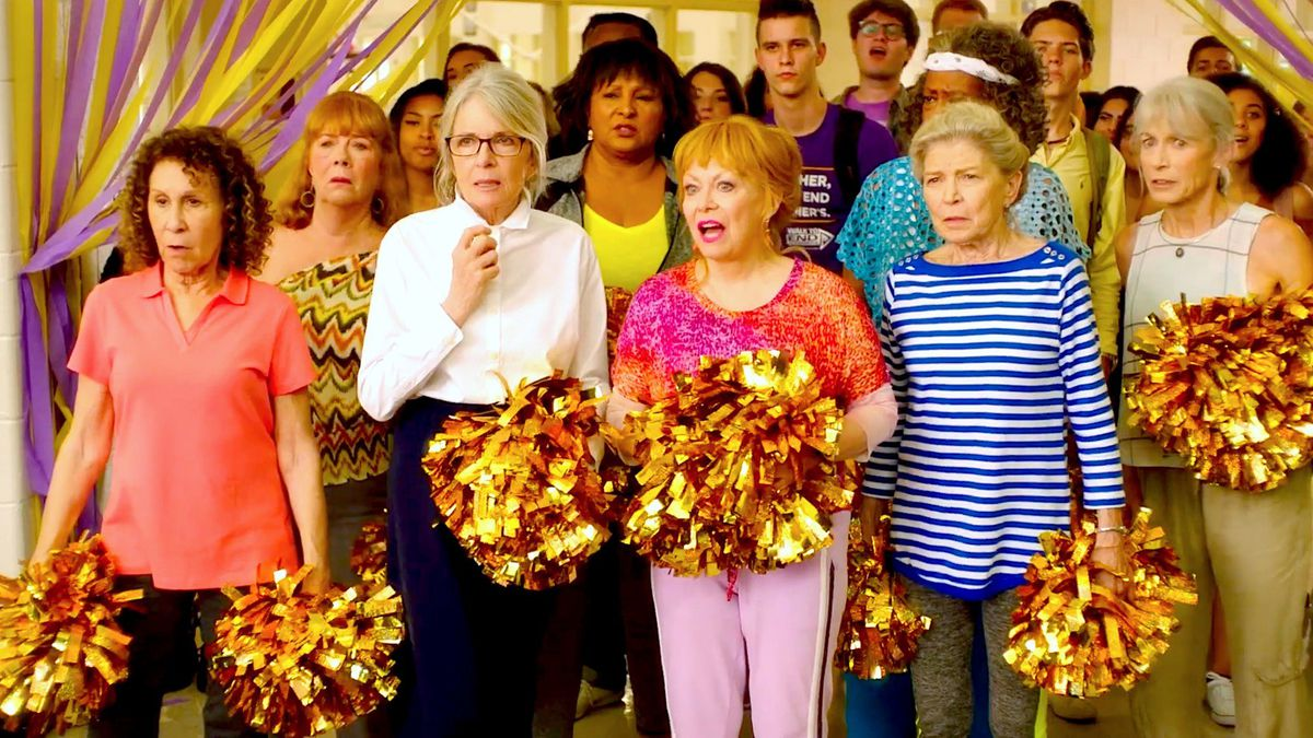 The dream team of Rhea Perlman, Diane Keaton, Pam Grier, Jacki Weaver, and Phyllis Somerville in Poms.