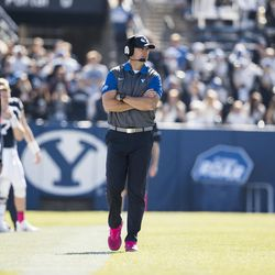 BYU assistant head coach Ed Lamb coaches during game against San Jose State on Oct. 28, 2017.