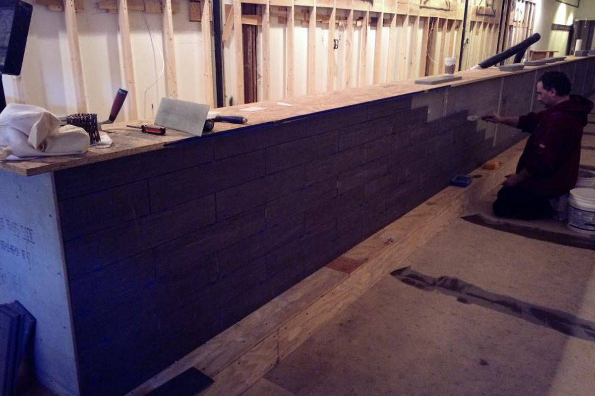 The bar at Bistro 781 being built in February
