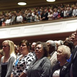 More than 100,000 Church members, friends and invited guests attend the morning session of the182nd Semiannual General Conference for The Church of Jesus Christ of Latter-day Saints in the Conference Center in Salt Lake City on Saturday, Oct. 6, 2012.