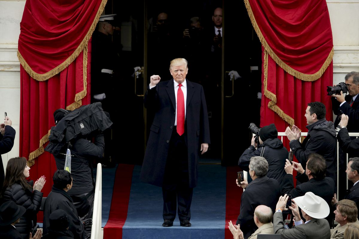 President-elect Trump arrives at his inauguration ceremony on January 20