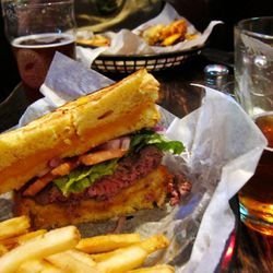 """Croxley's grilled cheese burger by <a href=""""http://www.flickr.com/photos/foodforfel/5989318075/in/pool-eater/"""">foodforfel</a>. <br />"""
