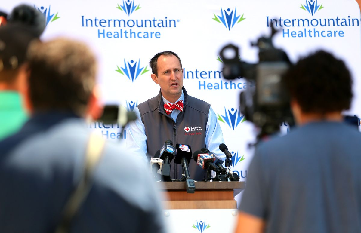 The Red Cross' Dr. Walter Kelley discusses an effort to expand access to investigative treatments for COVID-19 during a press conference at Intermountain Healthcare's Transformation Center in Murray on Tuesday, April 21, 2020. In an effort to expand access to investigative treatments for COVID-19, Intermountain Healthcare is participating in the U.S. Food and Drug Administration's newly launched National Expanded Access Treatment Protocol to allow use of convalescent plasma donated by patients who have recovered from COVID-19 to be processed and given to patients with the virus. A team of Intermountain transfusion experts arranged and conducted Utah's first plasma transfusion of a COVID-19 patient at Intermountain Medical Center.
