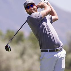 Dusty Fielding tees off on the third day of the 78th Provo Open at East Bay Golf Course in Provo Saturday, June 10, 2017.