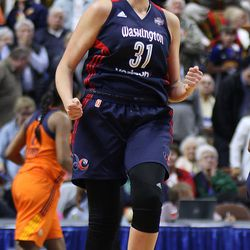 Washington Mystics' Stefanie Dolson yells out after missing one-of-two free throws at end of regulation.