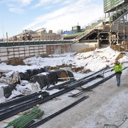 One more view along Sheffield as workers bring steel rods into place