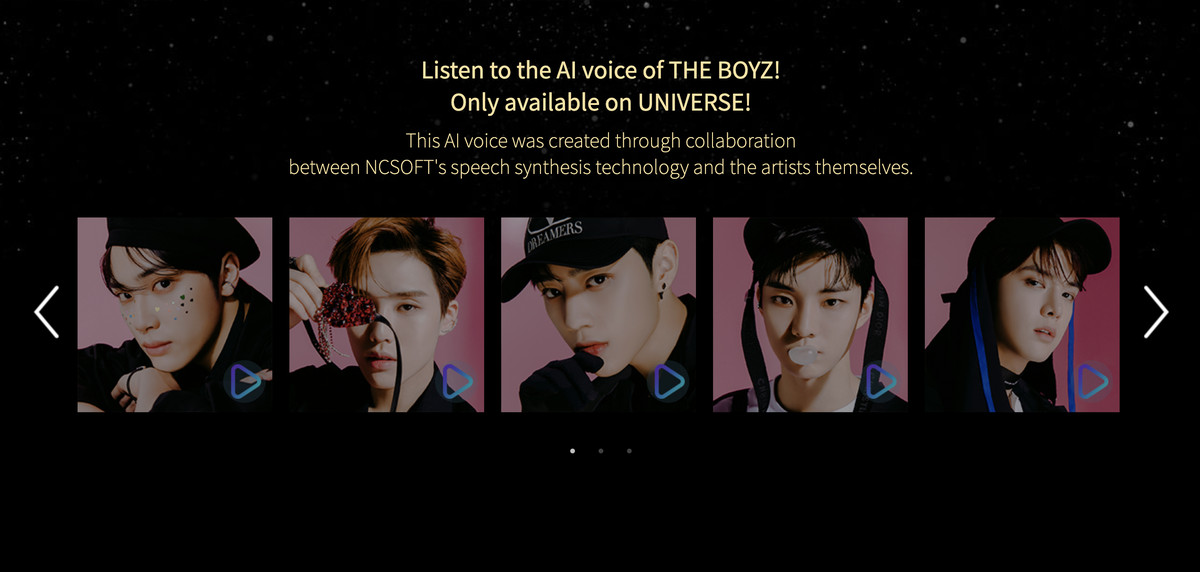 A screenshot of the UNIVERSE app website advertising AI voices of K-pop stars