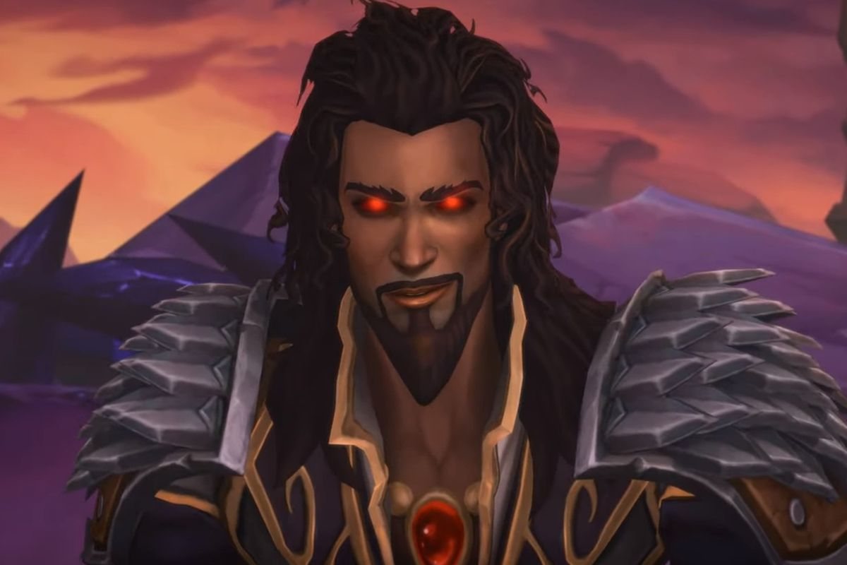 World of Warcraft - a shot of Wrathion from a raid cinematic in Patch 8.3.