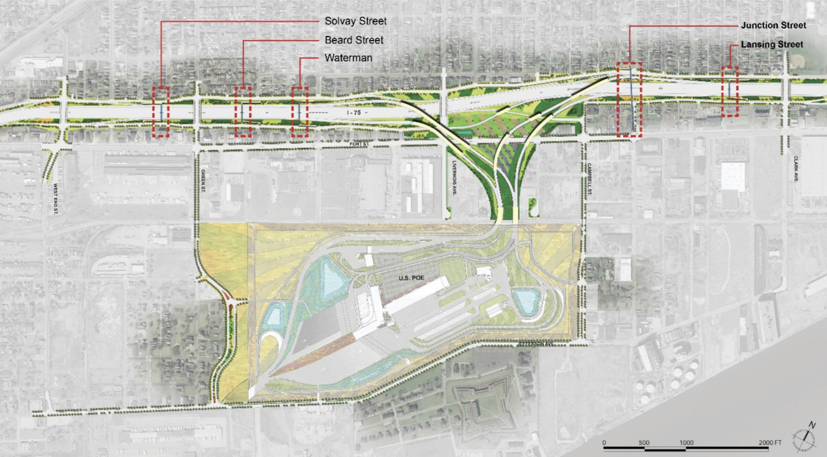 Map of the new pedestrian bridges. The freeway and large U.S. point of entry are colored, the rest of the map is gray.