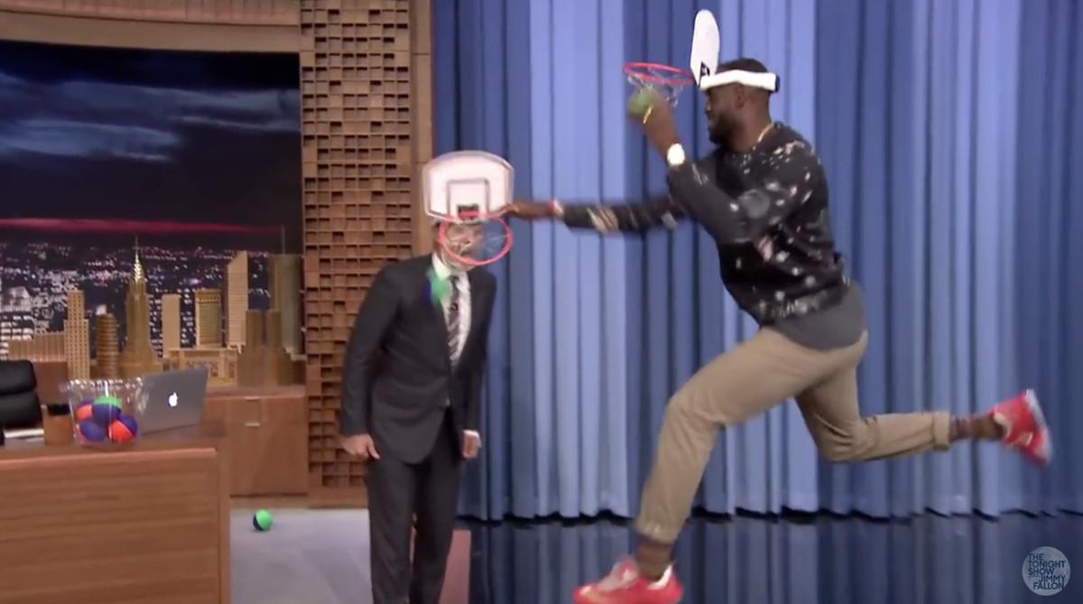 LeBron James dunking on Jimmy Fallon