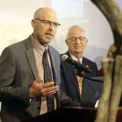 Jeff Rasmussen, director of theUtah Division of Parks and Recreation, discusses HB322, which would create Utahraptor State Park in the Dalton Wells area near Moab, during a press conference at the Capitol in Salt Lake City on Friday, Feb. 14, 2020.