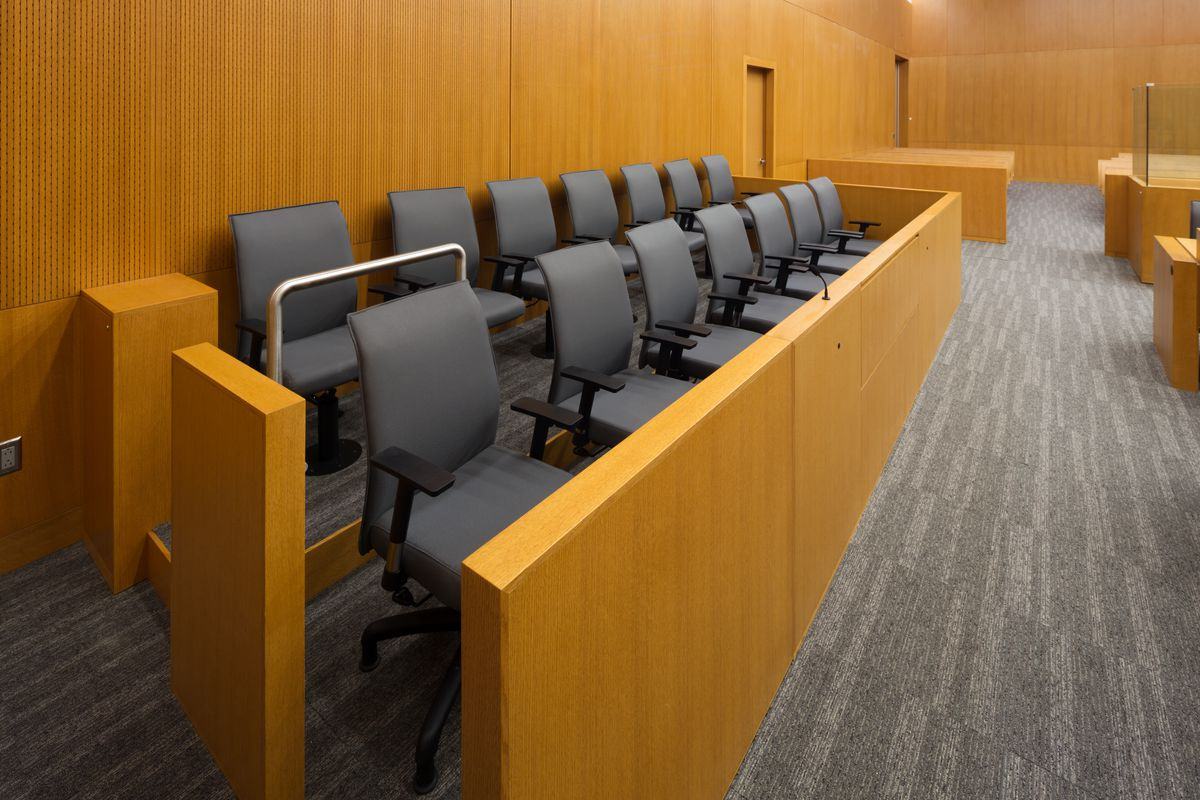 Empty jury chairs in a courtroom similar to the one Tornez-Sanchez's plea may have been heard in.