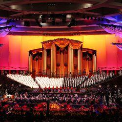 The Mormon Tabernacle Choir sings during their Christmas concert in Salt Lake City on Thursday, Dec. 14, 2017.