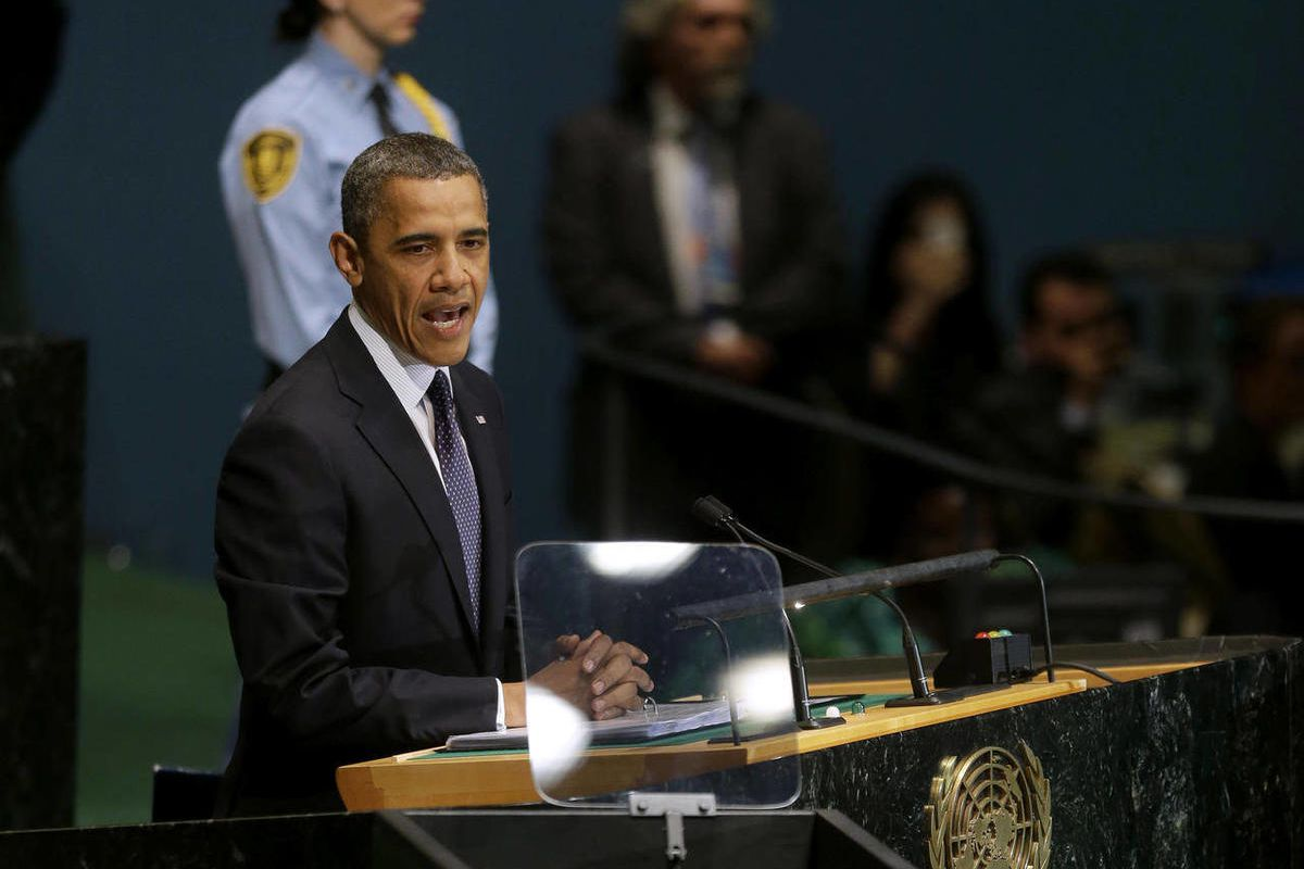 President Barack Obama addresses the 67th session of the United Nations General Assembly at the United Nations headquarters, Tuesday, Sept. 25, 2012.