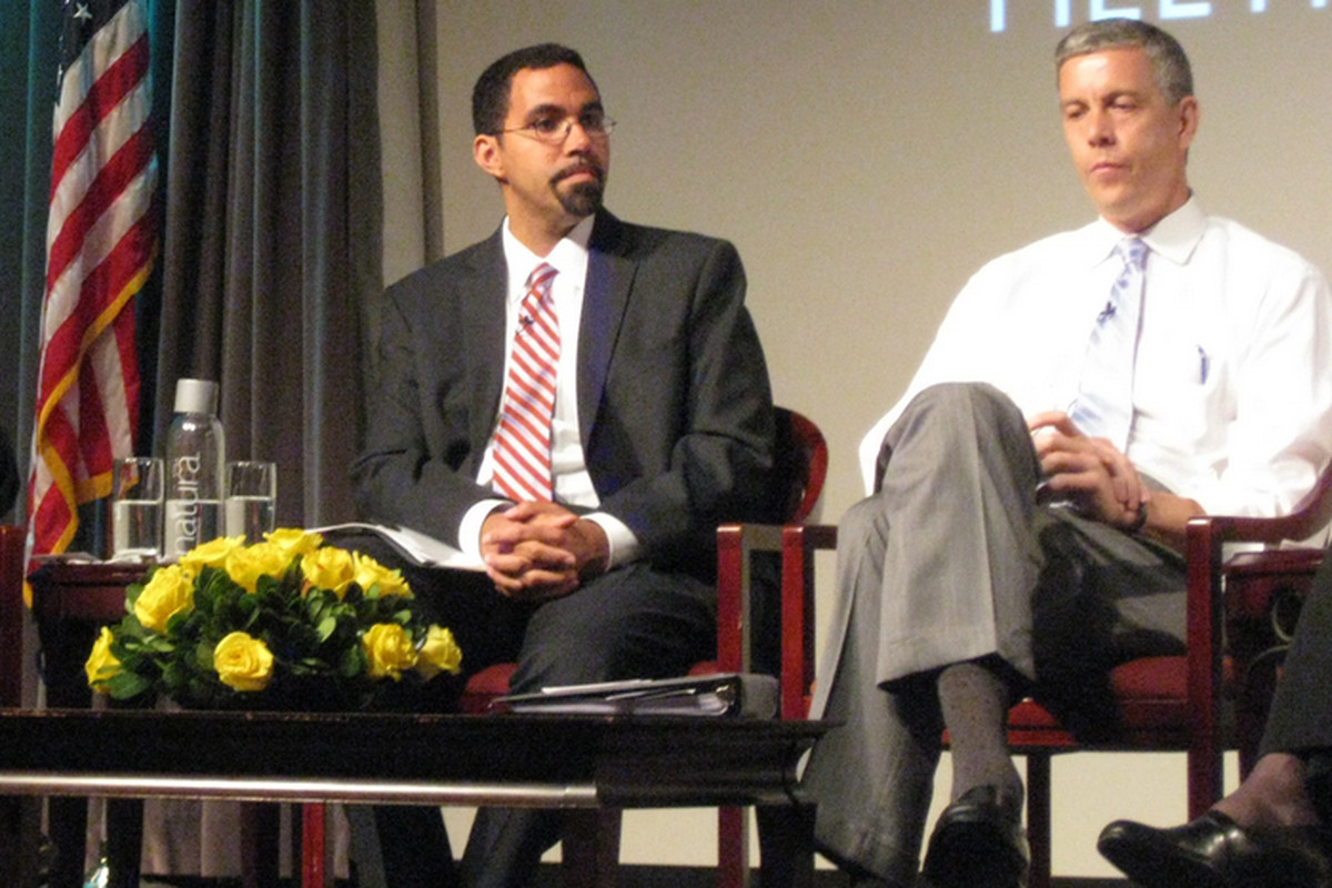 U.S. Education Secretary Arne Duncan and then-New York State schools chief John King in 2012.