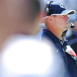 Brigham Young head coach Bronco Mendenhall watches from the sidelines as BYU and Virginia to play Saturday, Sept. 20, 2014, at LaVell Edwards Stadium in Provo.