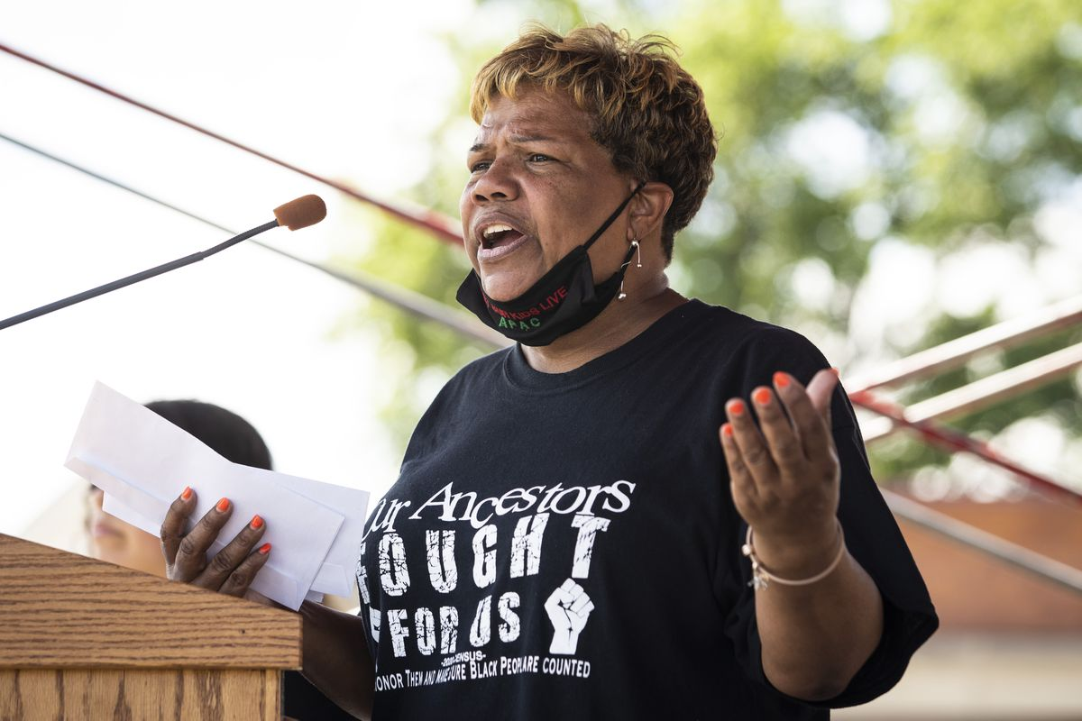 "Cynthia Williams, CEO of the Austin Peoples Action Center, speaks during the organization's ÒLet our Kids Live"" rally against gun violence on the West Side, Friday, July 24, 2020. 