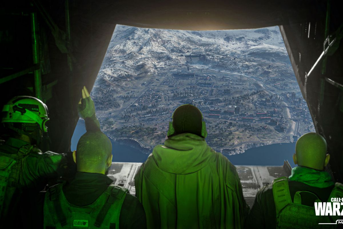 The jumpmaster signals several players to ready up as a round of Call of Duty Warzone kicks off inside a large cargo plane with green interior lighting.