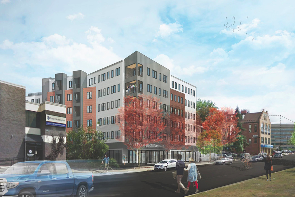 A rendering of a six-story condo building planned for Brighton.