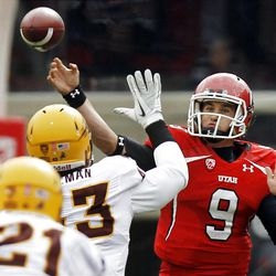 Utah Utes quarterback Jon Hays passes the ball against  Arizona State last season, his first start after joining the Utes only weeks before.