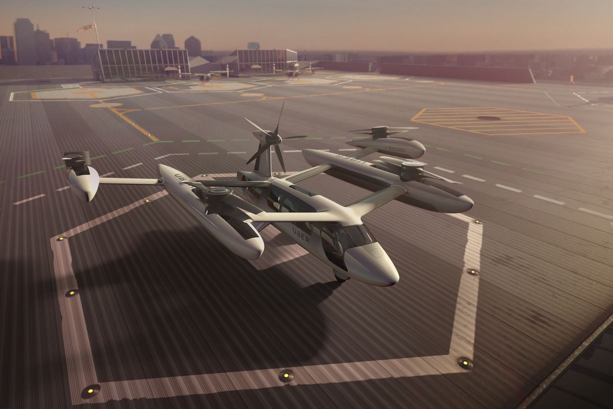 A concept design for a flying car shows a vehicle that looks like a large drone parked on a hexagonal landing tarmac.