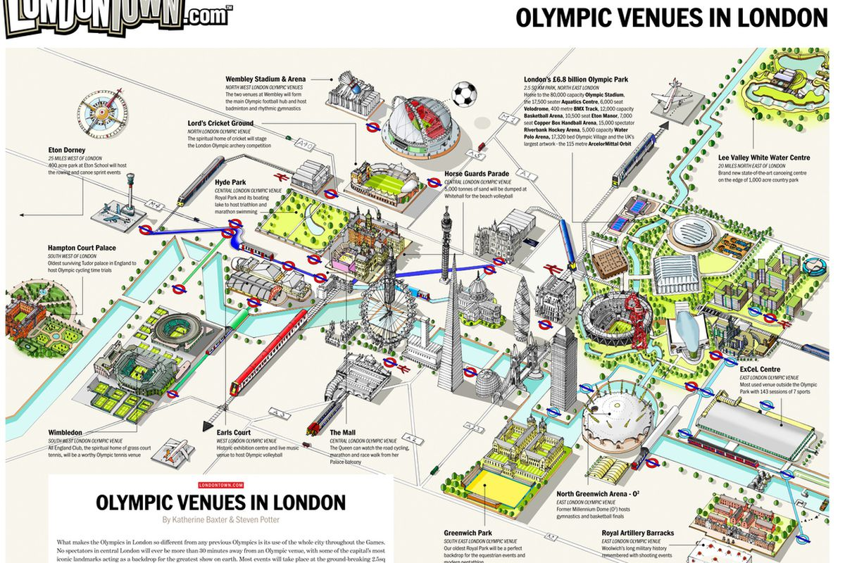 """Map of the Olympic venues in London, provided by londontown.com. For full-size map, <a href=""""http://www.londontown.com/How-to-use-the-Olympic-Venues-in-London-Map/"""" target=""""new"""">click here</a>."""