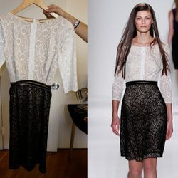Macro-lace Frock in Black and White, $468