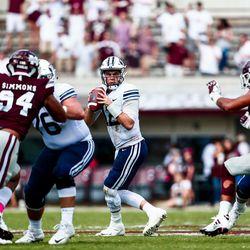 BYU quarterback Tanner Mangum looks to pass against Mississippi State at Davis Wade Stadium in Starkville, Miss., on Saturday, Oct. 14, 2017.