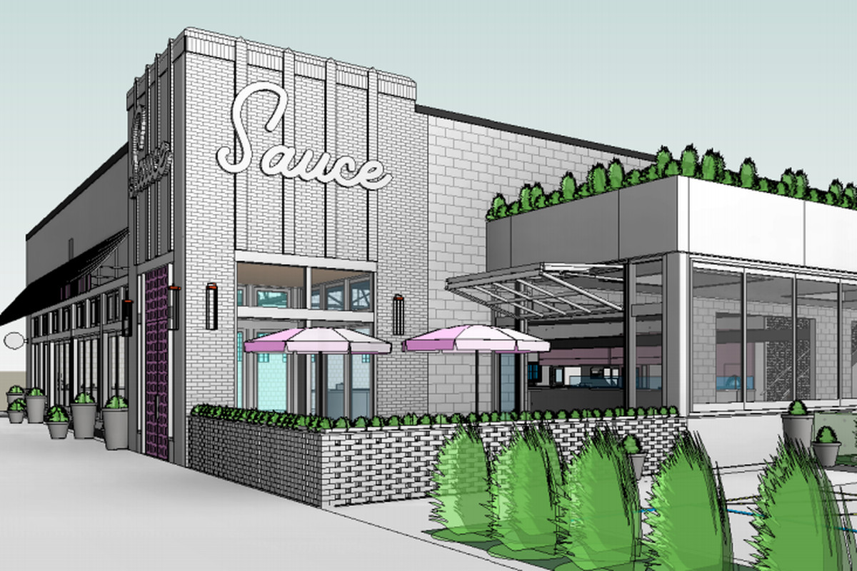 The drawing features a brick building with a sign for Sauce written in cursive, a bricked-in patio with pink umbrellas, and an annex with garage-door windows.