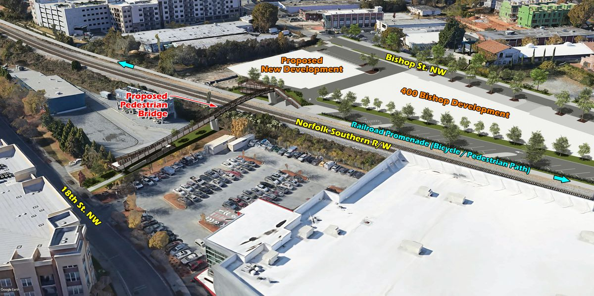 A third rendering shows the project from the east.