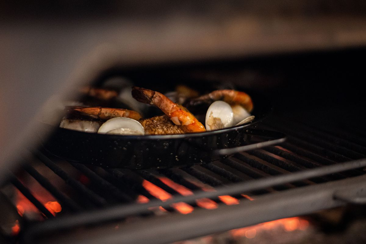 Seafood paella in the oven at Intercrew restaurant in Los Angeles, California