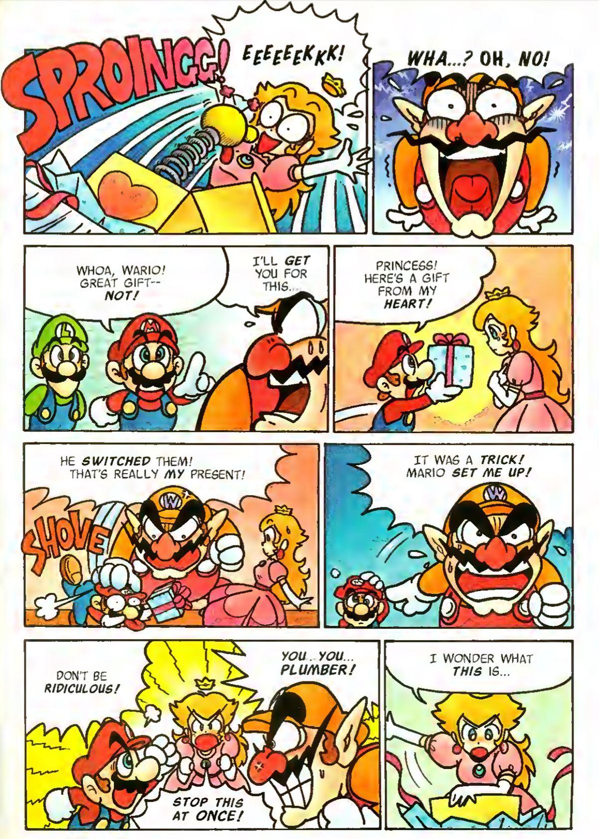 A comic page featuring Peach, Mario, Luigi and Wario from Mario vs. Wario #2