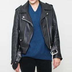 "<b>Acne</b> Mape Leather Jacket in Black, <a href=""http://shop.creaturesofcomfort.us/acne-mape-leather-jacket-black.aspx"">$1,500</a> at Creatures of Comfort"