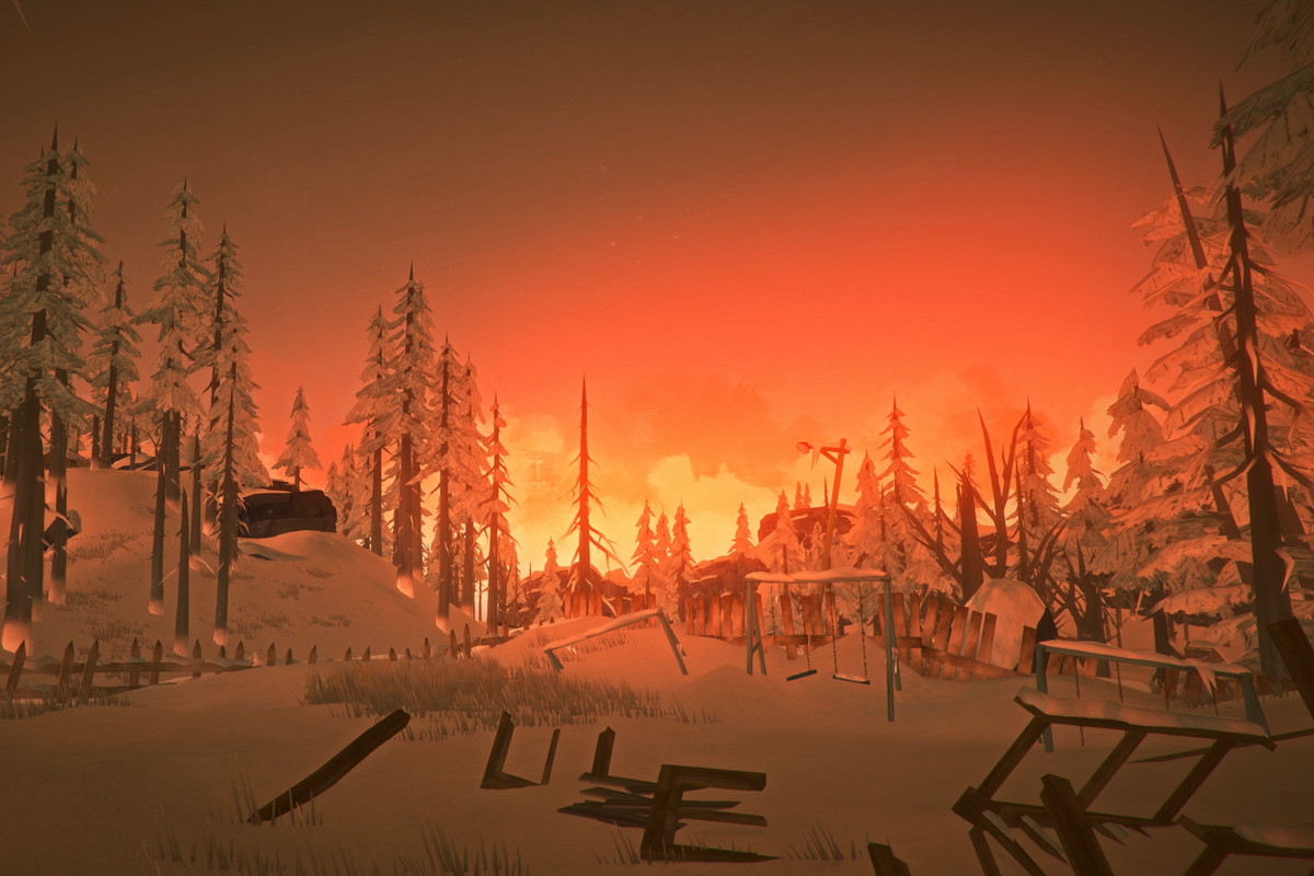 The Long Dark - sunset in snowy woods