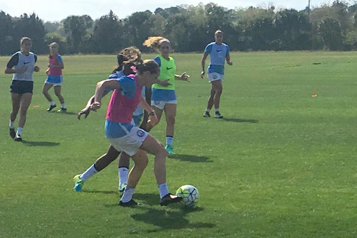 Orlando Pride take to the practice pitch for the first time.