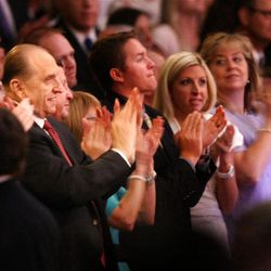 LDS Church President Thomas S. Monson applauds the performance to honor his 85th birthday.