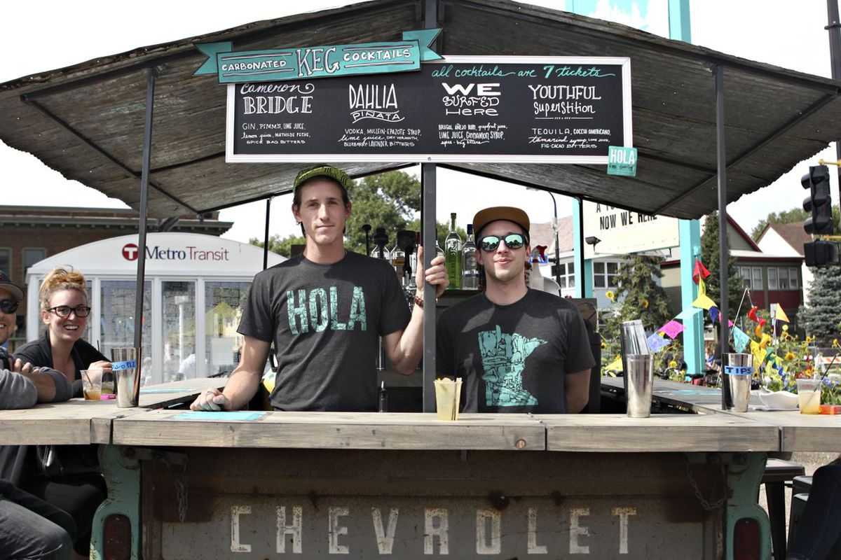 Hola's rolling out the pick up truck bar for a bash this weekend.