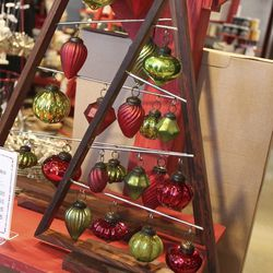 A-frame ornament tree, $24.95 to $49.95. Ornaments, $49.95