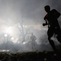 competitor in action during the Tough Guy Challenge on January 27, 2013 in Telford, England.