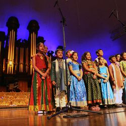 Sri Ganesha Hindu Temple and India Cultural Center of Utah Children's Choir perform at the annual Salt Lake Interfaith Roundtable Interfaith Musical Tribute Sunday, March 10, 2013, in the Tabernacle on Temple Square.