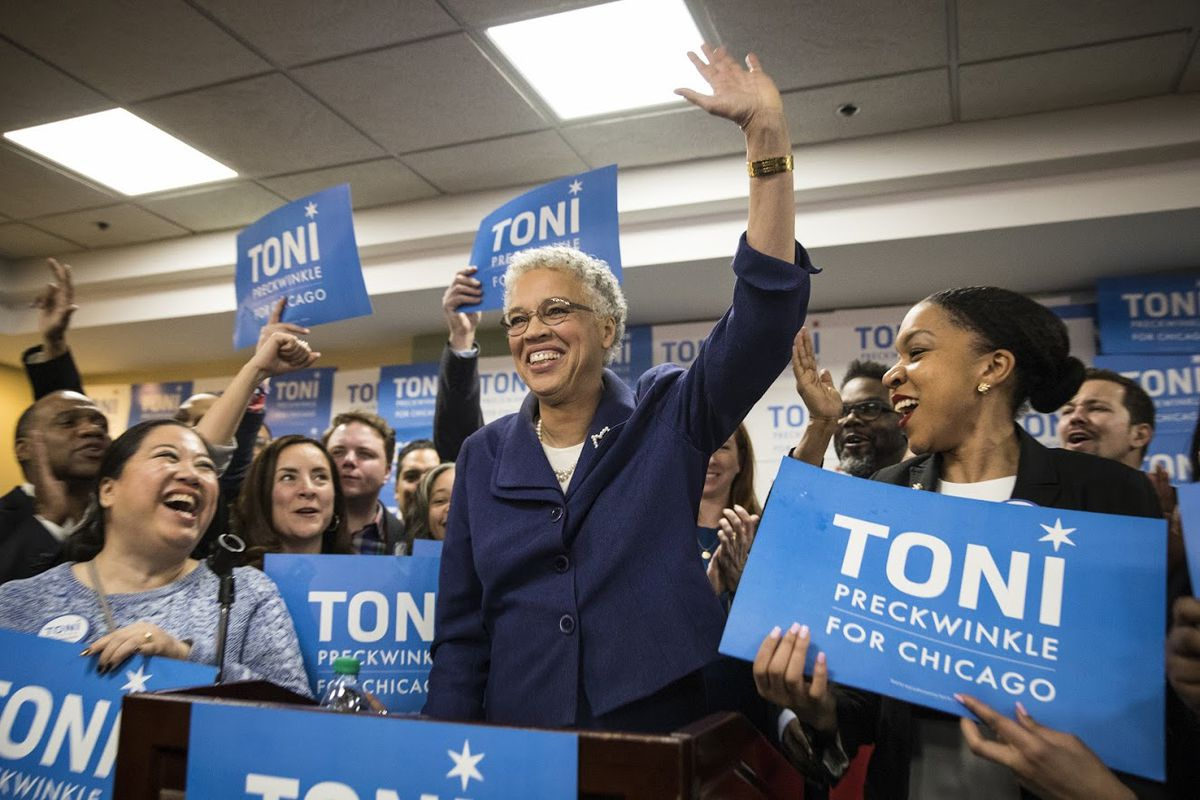 Mayoral candidate Toni Preckwinkle speaks at her election night event at Lake Shore Cafe, 4900 S. Lake Shore Dr., Tuesday night, Feb. 26, 2019. | Ashlee Rezin/Sun-Times
